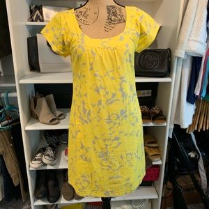 Yellow and grey j crew dress